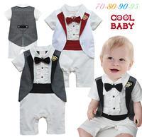 春夏嬰兒英倫紳士哈衣 / 嬰兒紳士連體衣 / 嬰兒禮服 / 滿月服