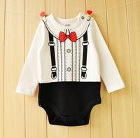 嬰兒薄長袖紳士造型連體哈衣 / 嬰兒純棉紳士造型爬行服 / 嬰兒包屁哈衣