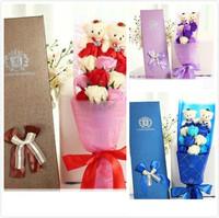 仿真浪漫玫瑰香皂花束 / 情人節禮物 / 送禮佳品 送女友~謝師宴   2小熊9花朵款