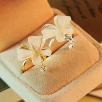 韓版蝴蝶閃鑽吊墜戒指/鑲鑽花朵戒指  開口款