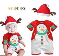 嬰兒夏裝雪人連體哈衣+帽子套裝 / 嬰兒爬行服    短袖