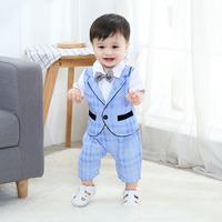 夏裝薄款嬰兒英倫紳士連體服 / 新生兒紳士爬行服 / 嬰兒紳士套裝 / 百日宴服 /禮服 / 滿月服