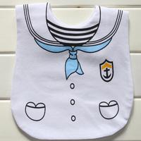 嬰兒魔術貼口水肩 / 新生兒防水魔術貼口水肩    水手款