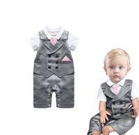 夏裝嬰兒英倫短袖領帶哈衣 / 嬰兒連體爬行服