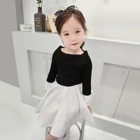 春裝女童黑白拼色連身裙套裝