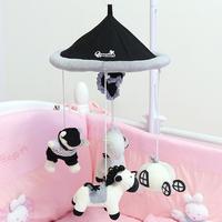 韓國新生嬰兒布藝毛絨音樂旋轉床鈴 / 嬰兒搖鈴挂件    黑白小馬款