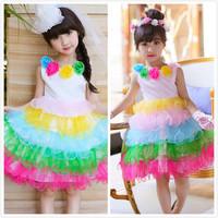 夏款女童彩虹蛋糕蓬蓬裙 / 女童彩虹連身公主裙 / 立體花朵蛋糕蓬蓬裙 / 表演服