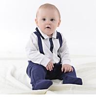 春秋嬰兒英倫紳士連腳連體哈衣 / 新生嬰兒長袖哈衣 / 滿月服