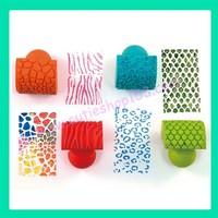 Cutieshop153Diy 勞作用具帶把柄紋路印章條紋紋理花紋顏料拓印(一套4個) #160366