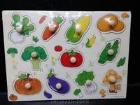 Cutieshop153 益智啟蒙玩具積木~(專注力,手眼協調,訓練小肌肉)~10件蔬菜手抓板 #150906