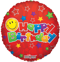 "18"" B-Day Smiley Red [balloon]"