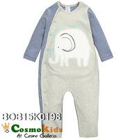 連身開胸長袖夾衣 - 秋冬動物款系列, 白象(6M)【嬰兒用品】