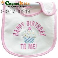 防水口水肩 - Happy Birthday to me, 粉紅色, 4條或以上$18/條【嬰兒用品】