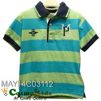 歐洲童裝 - Mayoral, 小童Polo Tee, 短袖, 藍/綠橫間 (#5T, 6T, 7T)