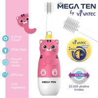 Vivatec 360度 MEGA TEN牙刷, 小童聲波電動牙刷, 貓貓【個人嬰兒用品】