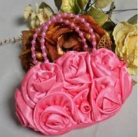 外貿原單 韓版女童花女袋 宴會包 派對袋 深粉色 B01