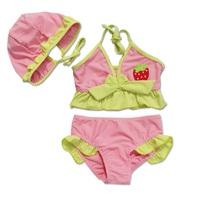 超可愛女童草莓分體泳衣 泳裝 比基尼 泳帽批發 W122