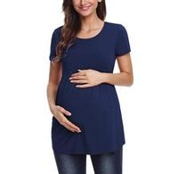 2019孕婦專門店 香港 歐美爆款 氣質純色美感孕婦短袖夏季上衣 孕婦T恤