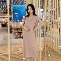 2019孕婦系列 孕婦時裝專門店香港 OL孕婦返工服 大肚婆衫 顯瘦冰絲孕婦連身裙