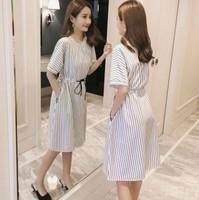 2020年夏款孕婦時裝  OL孕婦返工服 孕婦系列 大肚衫  豎條紋孕婦裙 哺乳裙 哺乳衣/餵奶衫