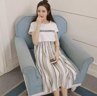2021哺乳衣hk 短袖印花孕婦哺乳連衣裙