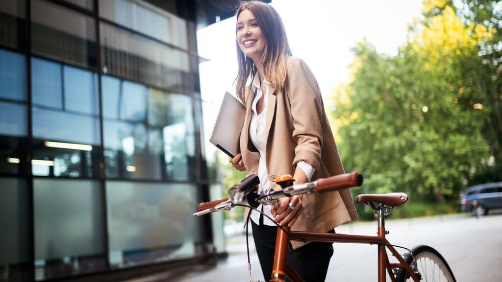 A woman biking to work