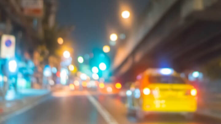Blurred vision at night in traffic