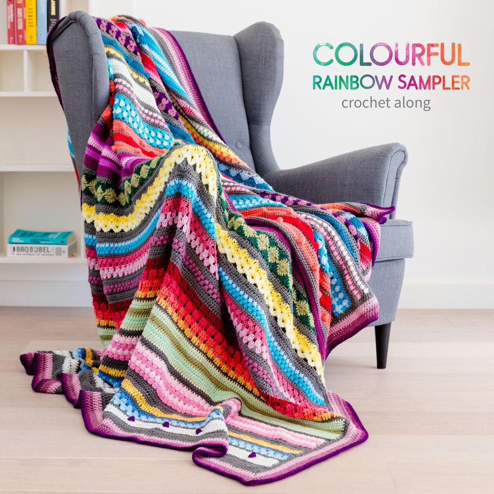 Nieuw Rainbow Sampler Blanket CAL: General information   Haak Maar Raak JE-08