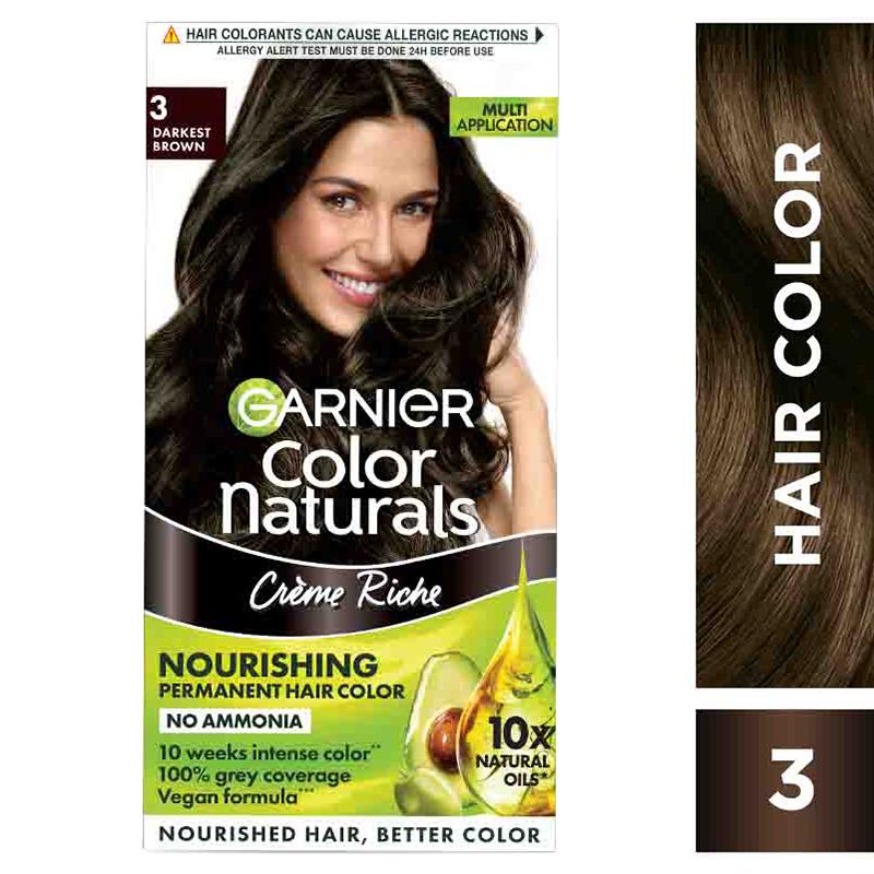 Garnier Color Naturals Hair Colour Cream Darkest Brown 3
