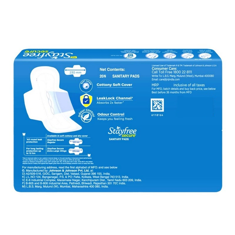 Stayfree Secure Cottony Wings 20 Pads