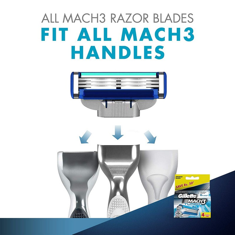 Gillette Mach3 Turbo Blades 4 Cartridges