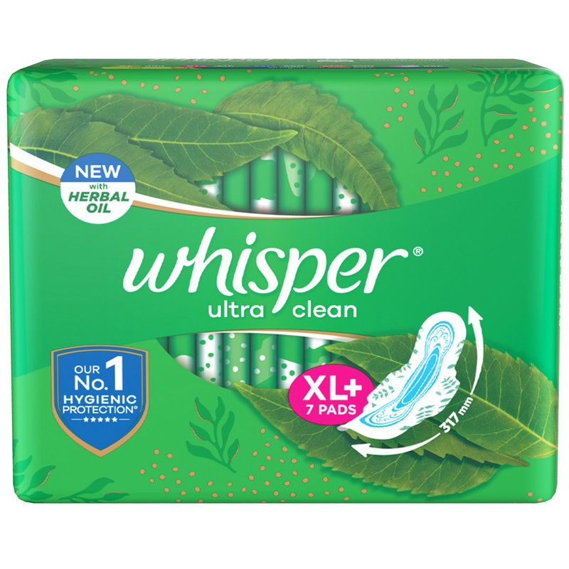 Buy Whisper Ultra Clean Sanitary Pads XL Wings 7 Piece | Health & Glow