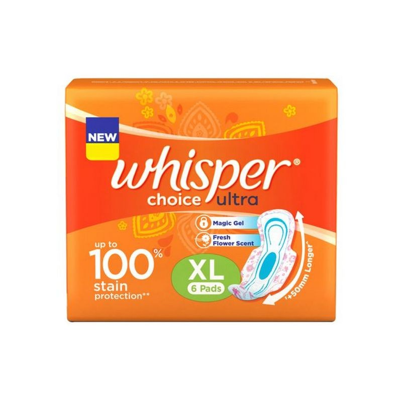 Whisper Choice Ultra XL Wings Sanitary Napkins 6 Pads