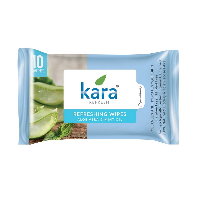 Kara Refreshing Wipes With Mint Oil & Aloe Vera 30 Pieces