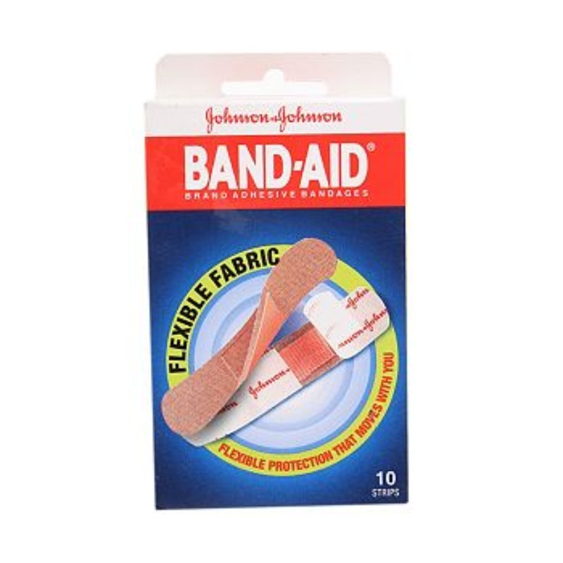 Johnson & Johnson Band Aid With Flexible Fabric 10 Strips