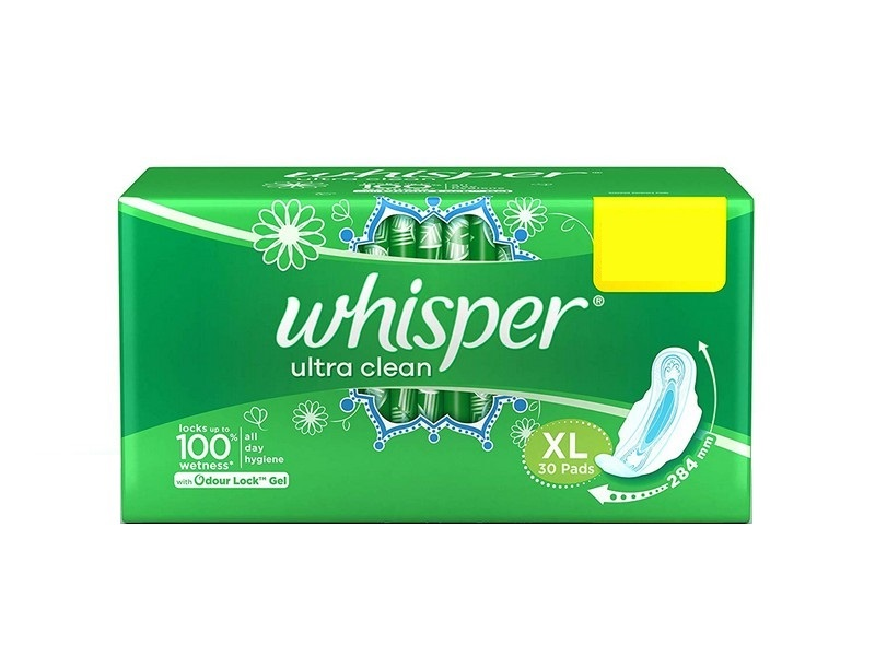 Whisper Ultra Clean XL Sanitary Napkins 30 Pads
