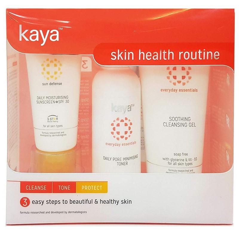 Kaya Skin Health Routine Kit Cleanse Tone & Protect