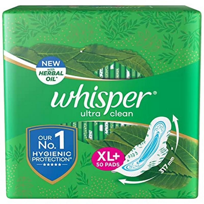 Whisper Ultra Clean XL+ Sanitary Napkins 44 Pads