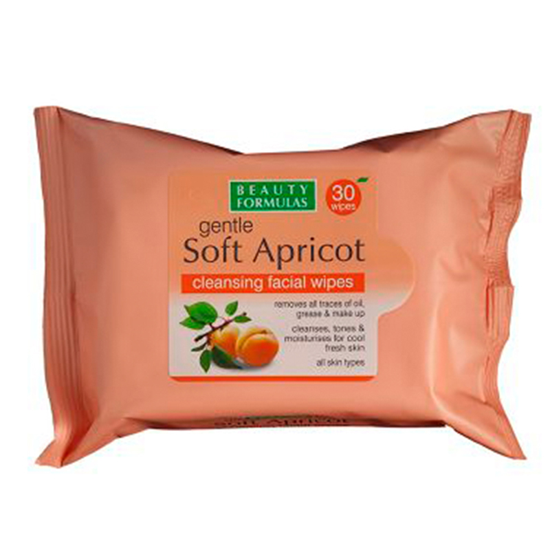 Beauty Formulas Soft Apricot Cleansing Facial Wipes 30 Pieces