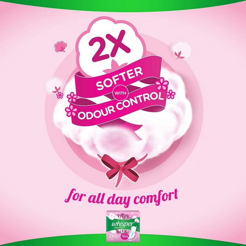 Whisper Ultra Soft 2X Softer XL+ Sanitary Napkins 30 Pads