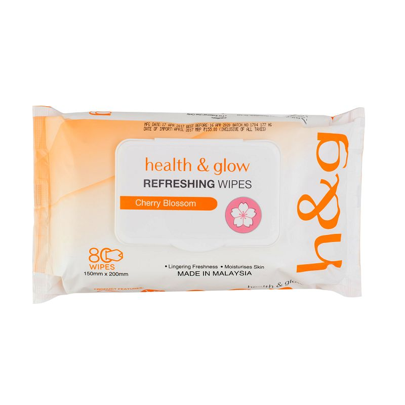 Health & Glow Refreshing Wet Wipes Cherry Blossom 80 Pieces