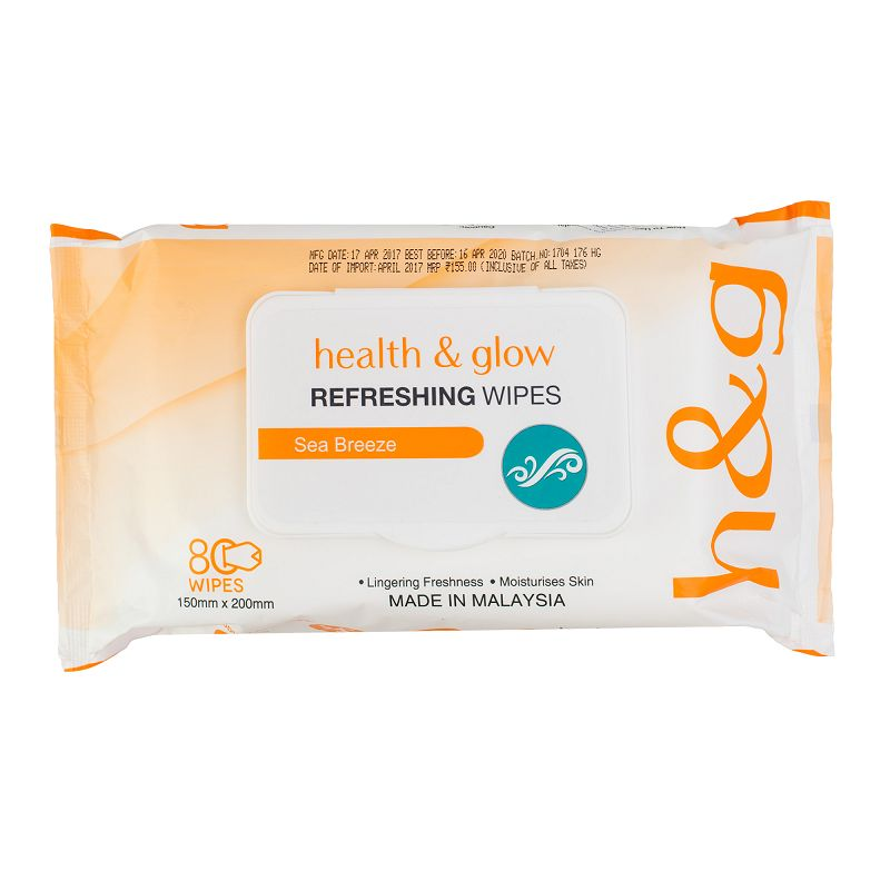 Health & Glow Refreshing Wet Wipes Sea Breeze 80 Pieces