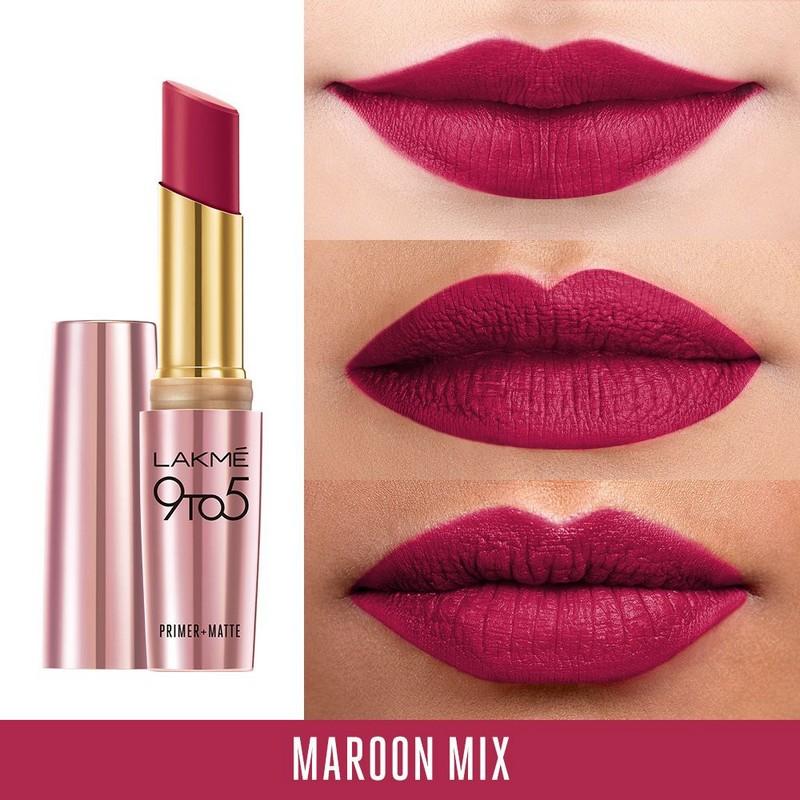 Buy Lakme 9 To 5 Primer + Matte Lip Colour MR18 Maroon Mix