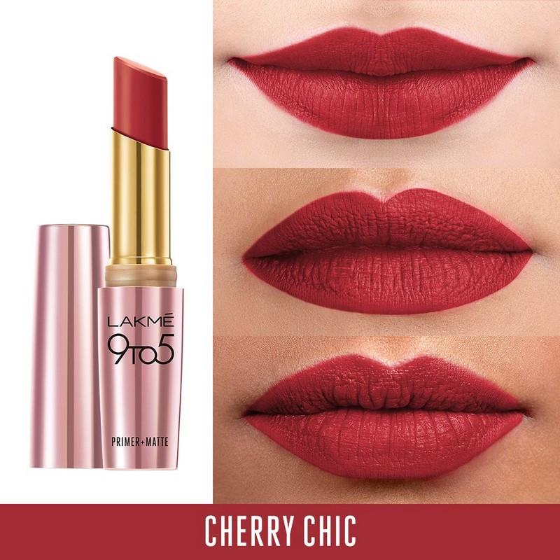 Lakme 9 To 5 Primer + Matte Lip Colour MR4 Cherry Chic 3.6gm