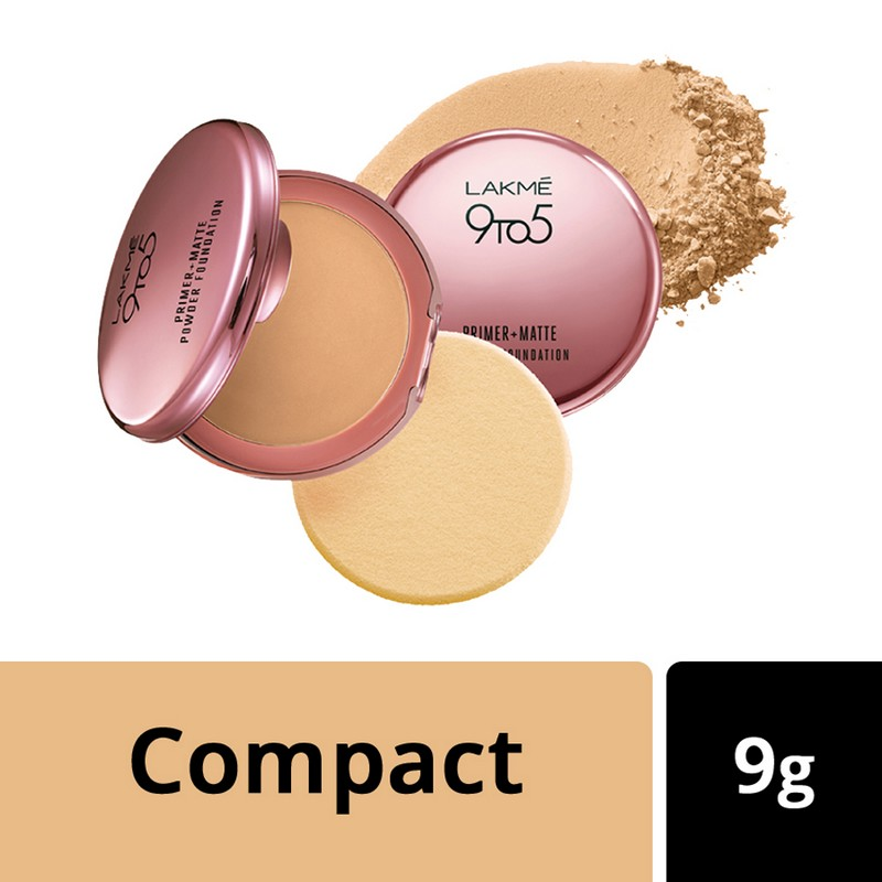 Lakme 9 To 5 Primer + Matte Powder Foundation Compact Silky Golden 03 9gm