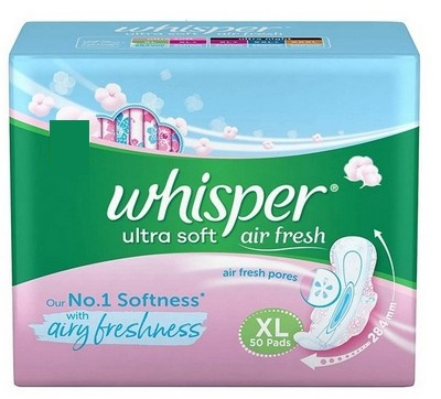 Whisper Ultra Soft 2X Softer XL Wings Sanitary Napkins 50 Pads