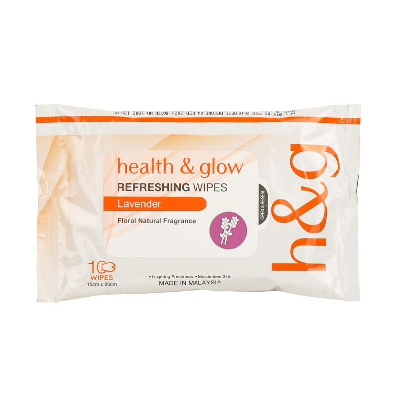Health & Glow Refreshing Wipes Lavender 10 Pieces