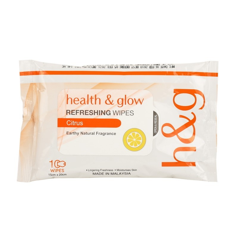 Health & Glow Refreshing Wipes Citrus 10 Pieces