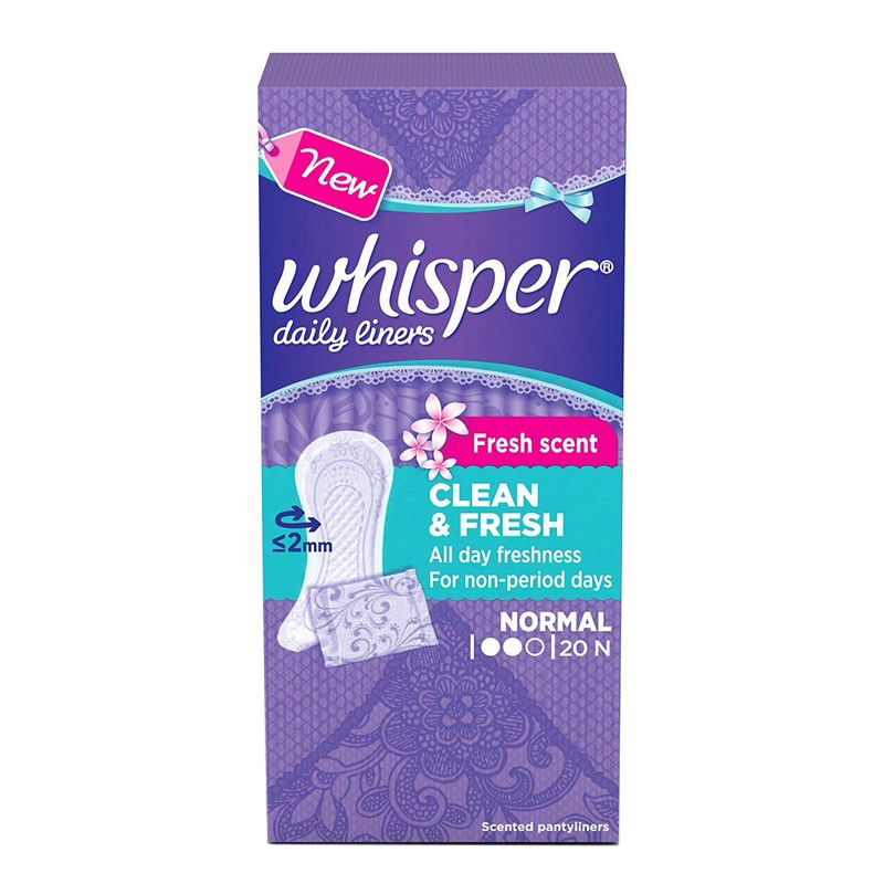 Whisper Clean & Fresh Daily Liners 20 Pads