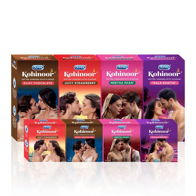 Durex Kohinoor Dotted Silky Chocolate Condoms Pack Of 3